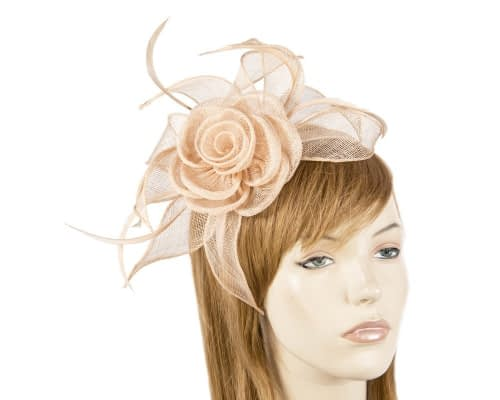 Fascinators Online - Large nude sinamay racing fascinators 5