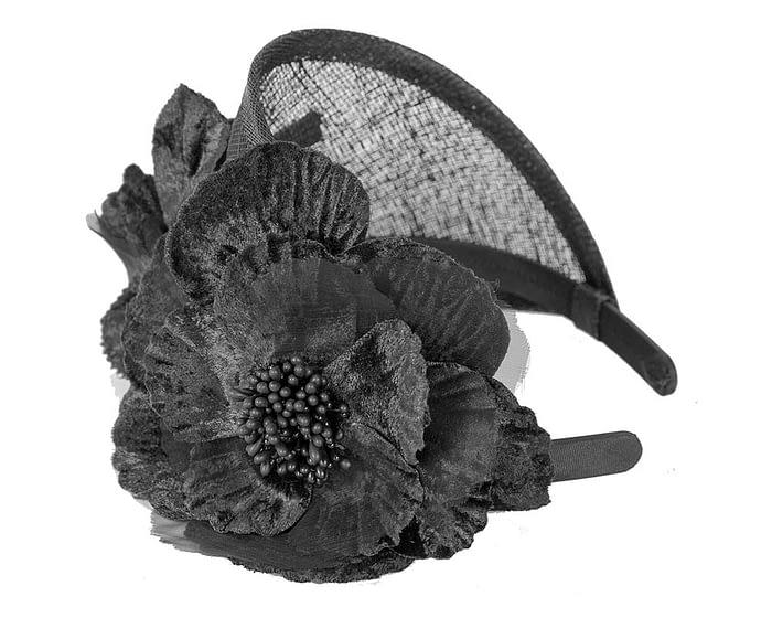 Fascinators Online - Black flower headband fascinator by Max Alexander 3