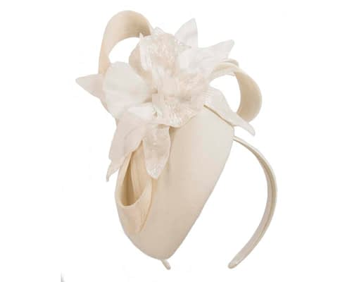 Fascinators Online - Tall cream felt pillbox with flower by Fillies Collection 2