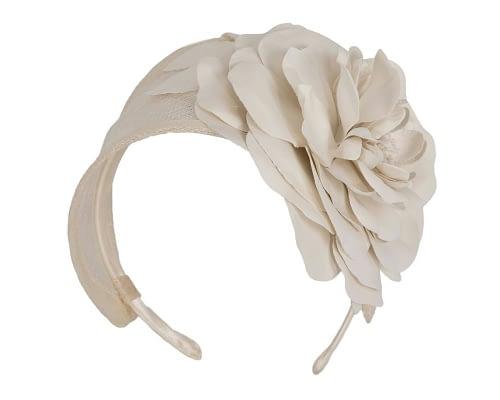 Fascinators Online - Cream leather flower headband fascinator by Max Alexander 2