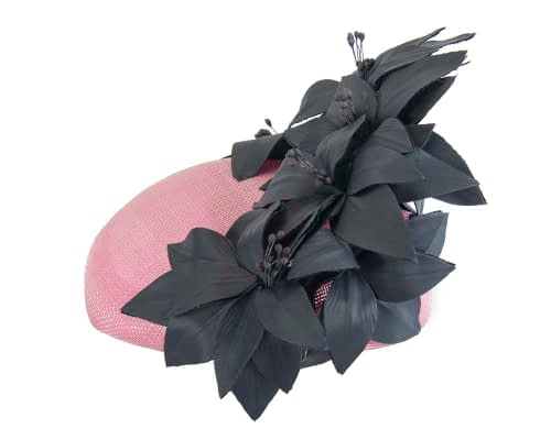 Fascinators Online - Pink & navy leather flower pillbox fascinator by Fillies Collection 3