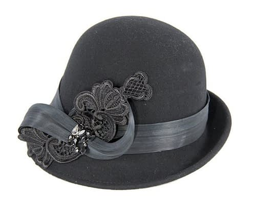 Fascinators Online - Black autumn & winter fashion felt cloche hat by Fillies Collection 2