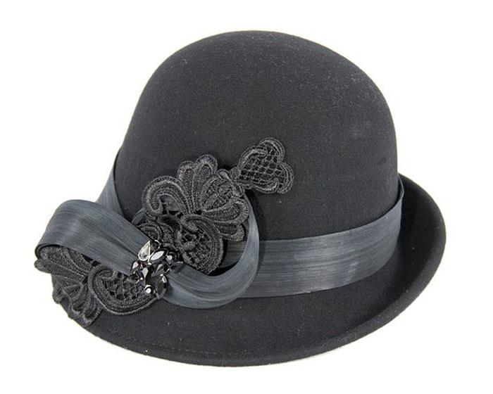 Fascinators Online - Black autumn & winter fashion felt cloche hat by Fillies Collection 2