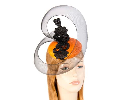 Fascinators Online - Orange & Black designers fascinator 21