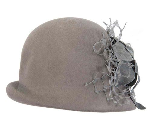 Fascinators Online - Grey felt bucket hat from Fillies Collection 5