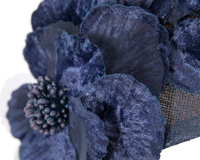 Fascinators Online - Navy flower headband fascinator by Max Alexander 4