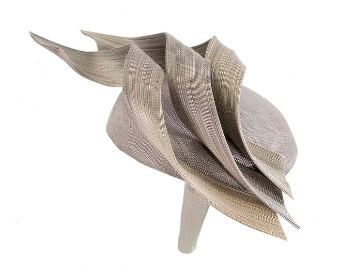 Fascinators Online - Silver pillbox racing fascinator with jinsin trim by Fillies Collection 4