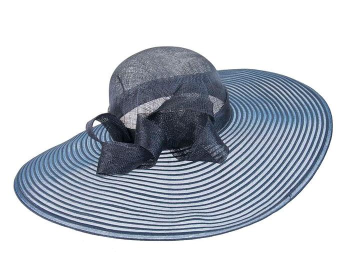 Fascinators Online - Wide brim navy fashion hat by Max Alexander 3