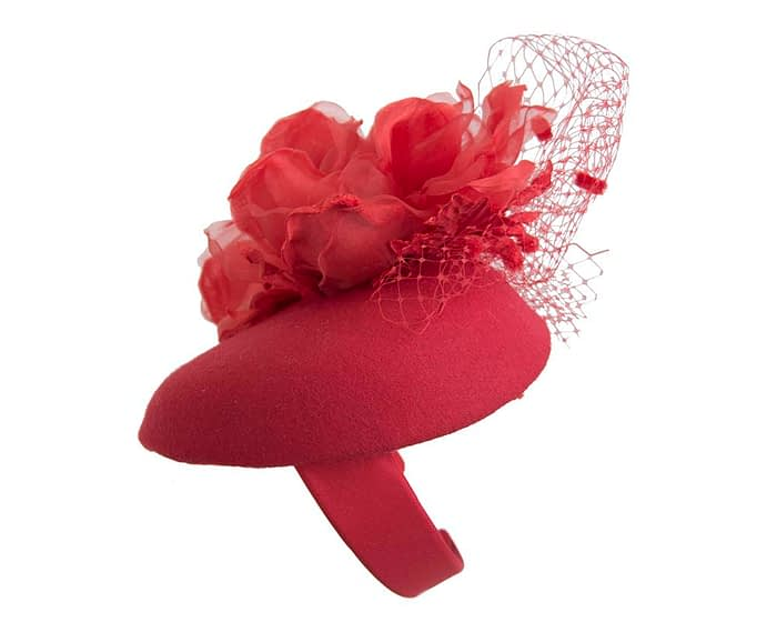 Fascinators Online - Red pillbox fascinator with flower by Fillies Collection 2