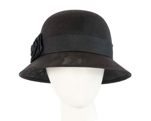 Fascinators Online - Black spring racing bucket hat by Max Alexander 3