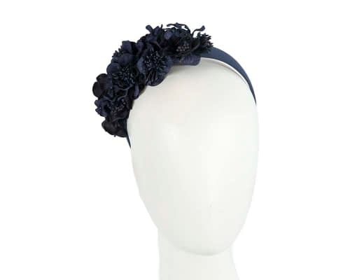 Fascinators Online - Racing fascinator - Navy flowers on headband by Max Alexander 1