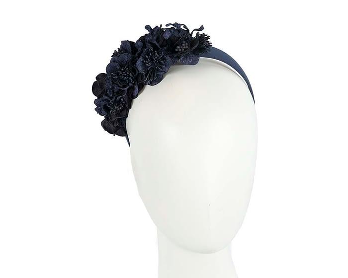 Fascinators Online - Racing fascinator - Navy flowers on headband by Max Alexander 1