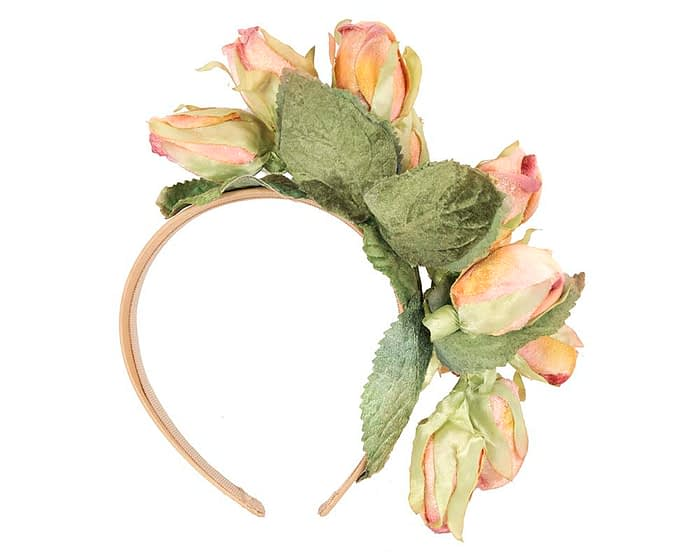 Fascinators Online - Multi-color peach roses flower headband by Max Alexander 4
