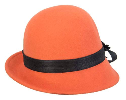 Fascinators Online - Exclusive orange felt cloche hat with lace by Fillies Collection 6