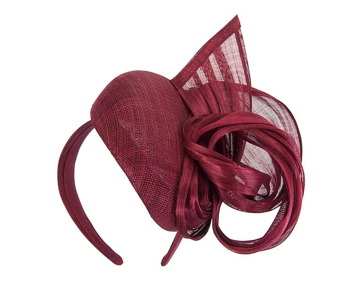 Fascinators Online - Burgundy pillbox fascinator with silk bow by Fillies Collection 2
