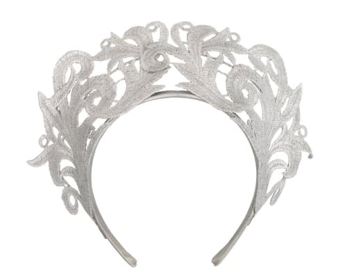 Fascinators Online - Silver lace crown racing fascinator by Max Alexander 2