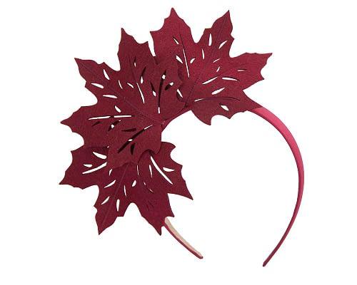 Fascinators Online - Burgundy Laser Cut felt Maple Leaves on a Headband 2