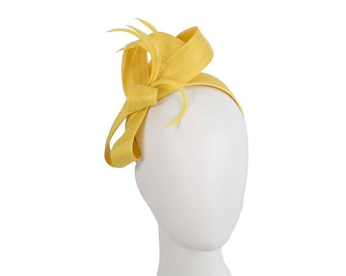 Fascinators Online - Yellow loops headband fascinator by Fillies Collection 1