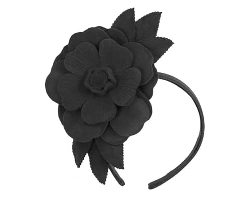 Fascinators Online - Black felt flower fascinator by Max Alexander 2