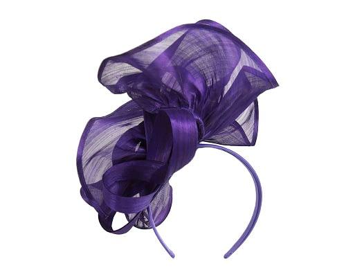 Fascinators Online - Purple sculptured silk abaca fascinator by Fillies Collection 4
