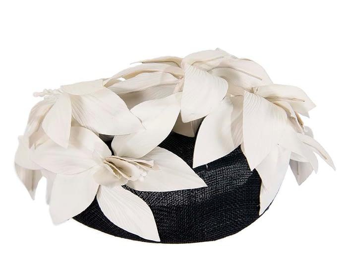 Fascinators Online - Black & cream leather flower pillbox fascinator by Fillies Collection 6