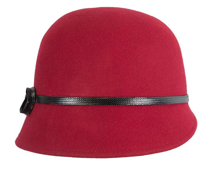 Fascinators Online - Red felt cloche hat by Max Alexander 4