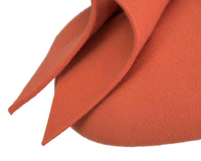 Fascinators Online - Burnt orange felt winter pillbox fascinator by Max Alexander 5