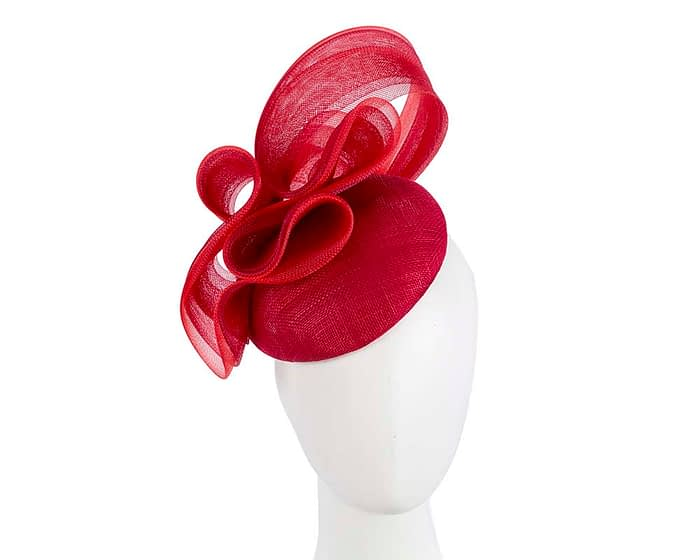 Fascinators Online - Red pillbox racing fascinator with wave by Fillies Collection 1