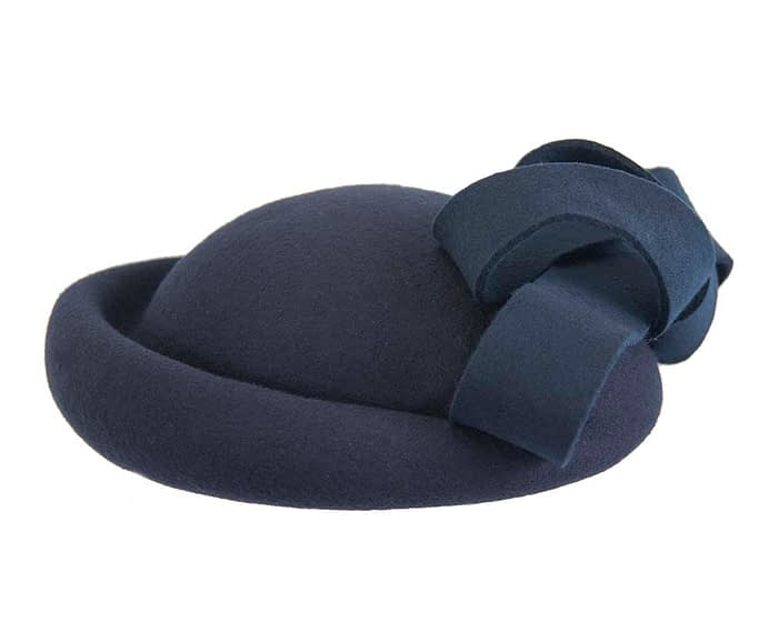 Fascinators Online - Large navy felt fascinator hat by Fillies Collection 4
