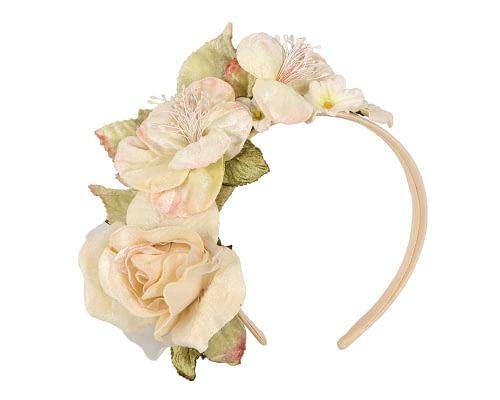 Fascinators Online - Multi-color cream flower headband by Max Alexander 2