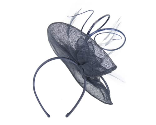 Fascinators Online - Large navy sinamay racing fascinator with feathers by Max Alexander 5
