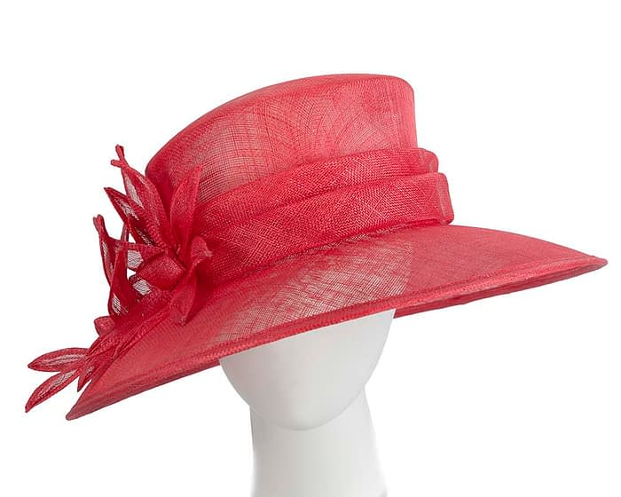 Fascinators Online - Large traditional red racing hat by Max Alexander 1