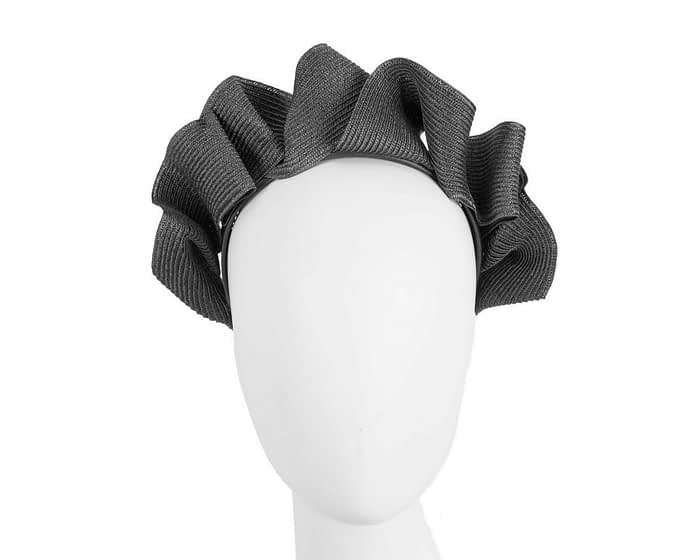 Fascinators Online - Black PU leather crown fascinator by Max Alexander 1