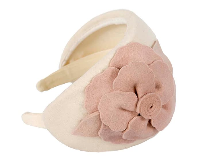 Fascinators Online - Wide headband cream winter fascinator with nude flower by Max Alexander 3