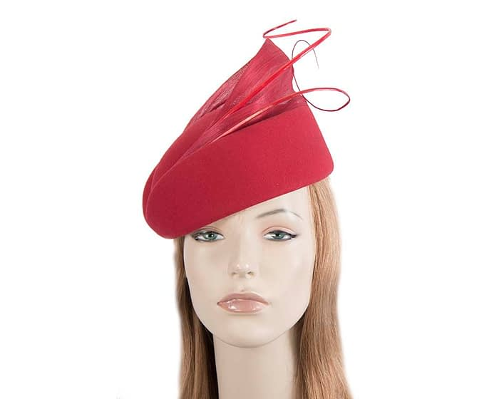 Fascinators Online - Red felt ladies fashion beret hat with feather by Fillies Collection 1