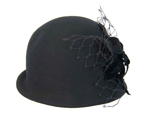 Fascinators Online - Black felt bucket hat from Fillies Collection 5