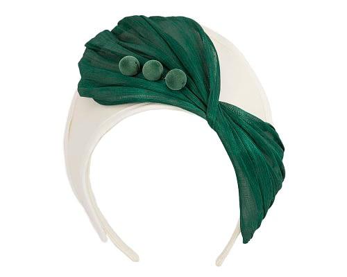 Fascinators Online - Cream & green felt crown fascinator by Fillies Collection 2