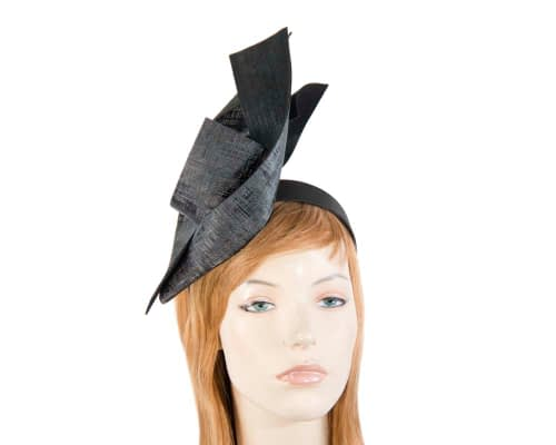 Fascinators Online - Bespoke black leather racing fascinator 25