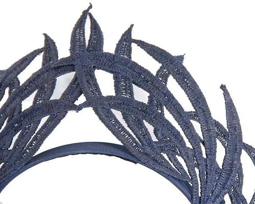 Fascinators Online - Navy lace crown 3