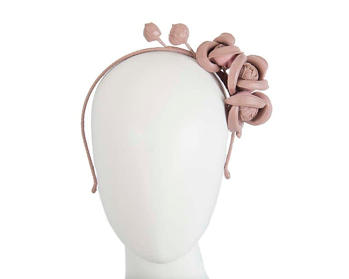 Fascinators Online - Taupe leather flowers headband by Max Alexander 1