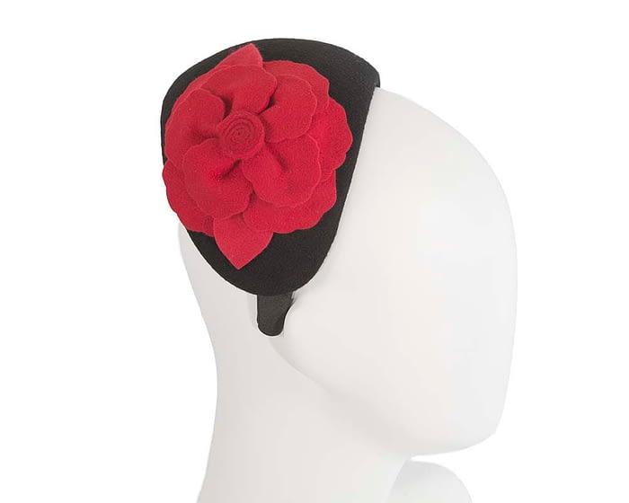 Fascinators Online - Wide headband black winter fascinator with red flower by Max Alexander 2