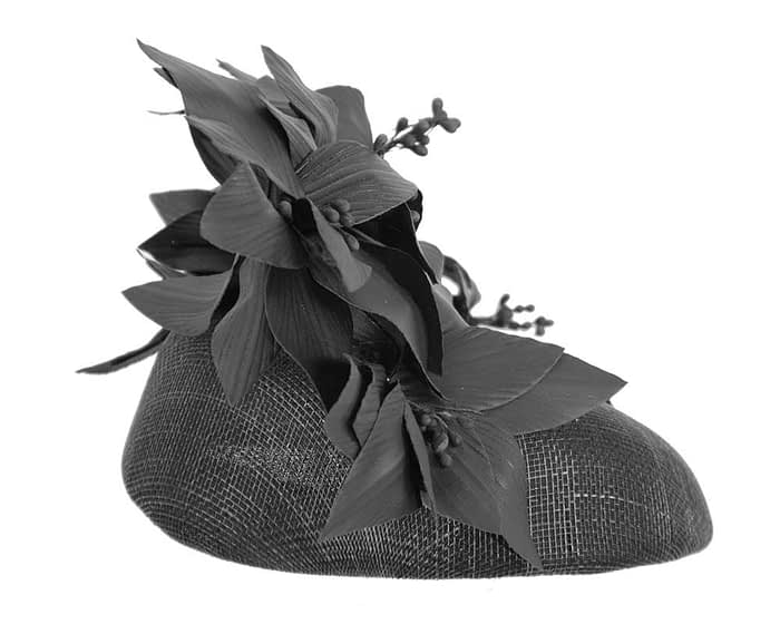 Fascinators Online - Black leather flower pillbox fascinator by Fillies Collection 4