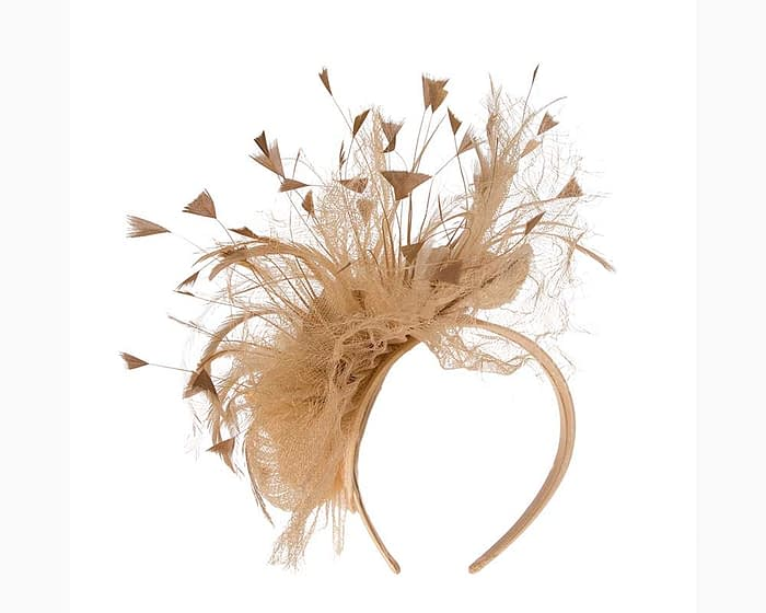Fascinators Online - Gold flower & feathers racing fascinator 4