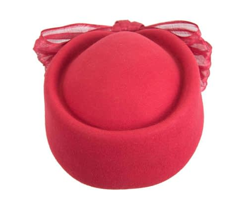 Fascinators Online - Red felt ladies fashion beret hat with bow by Fillies Collection 4