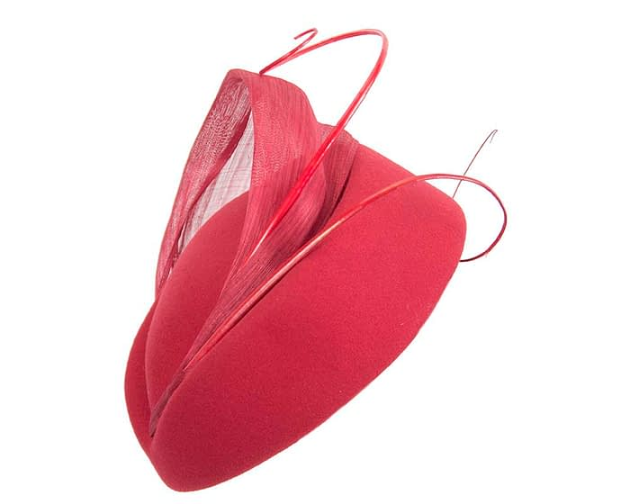 Fascinators Online - Red felt ladies fashion beret hat with feather by Fillies Collection 2