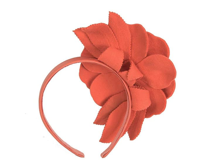 Fascinators Online - Burnt orange felt flower fascinator by Max Alexander 4