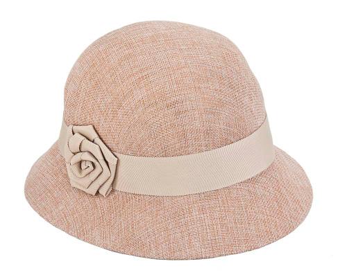 Fascinators Online - Nude spring racing bucket hat by Max Alexander 2