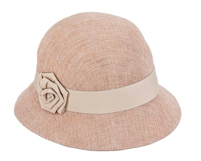 Fascinators Online - Nude spring racing bucket hat by Max Alexander 2