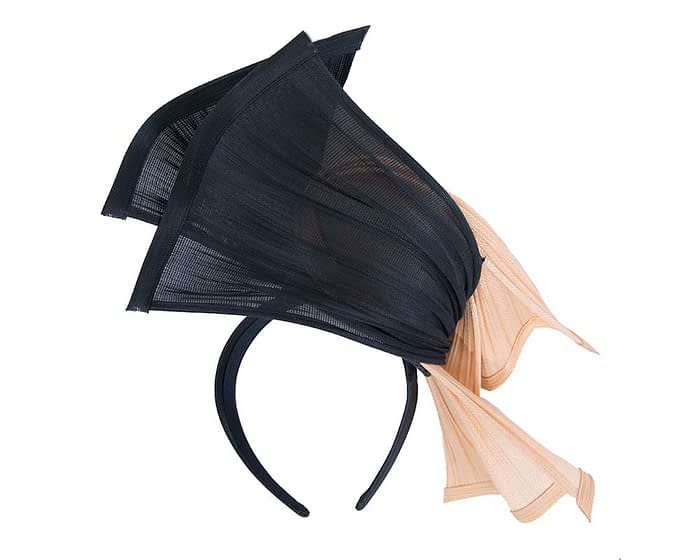 Fascinators Online - Twisted nude & navy jinsin racing fascinator by Fillies Collection 4