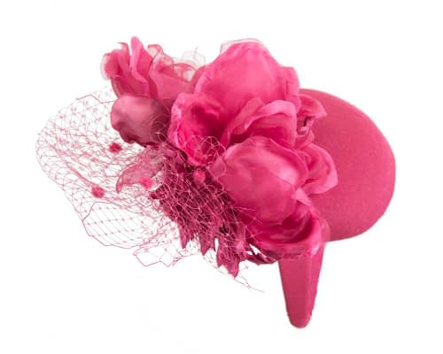 Fascinators Online - Fuchsia pillbox fascinator with flower by Fillies Collection 6